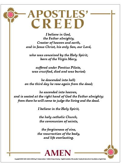 apostles creed The apostles creed: the nicene creed: i believe in god, the father almighty, creator of heaven and earth we believe in one god, the father, the almighty.
