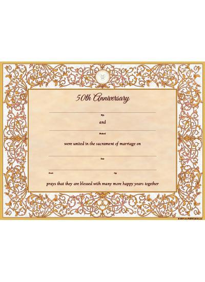 50th wedding anniversary certificate faith catholic store